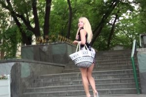 Hot blonde walking away after upskirt